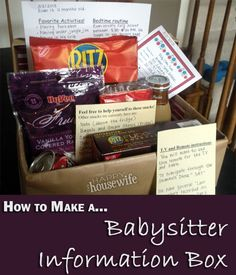This awesome DIY Babysitter Information Box includes all the information our babysitter could possibly want to know about our child, information about our home, and some assorted snacks that she can treat herself to while she is at our house. | The Happy Housewife