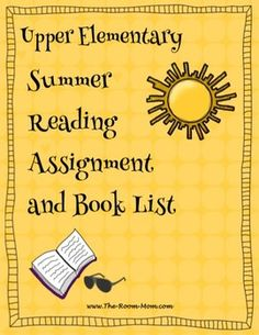 Summer reading book list and supporting activities. Book list is 100+ titles sorted by genre, upper elementary book list