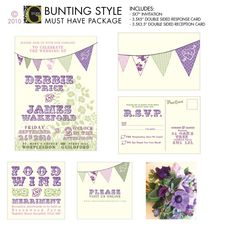 ENGLISH BUNTING Style Wedding Suite by studioGdesigns on Etsy