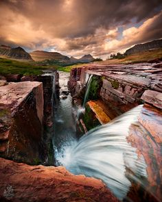 Triple Falls near Logan Pass in Glacier NP, Montana