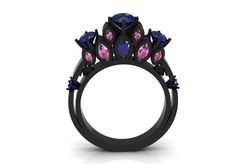 Victorian Style, Modern Wedding, Engagement or Valentine's Day Gift 14k Black Gold Ring for Women Item# WR-0399