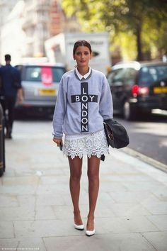 sweatshirt coupled with lace skirt. check out more sweatshirts w/ skirts.