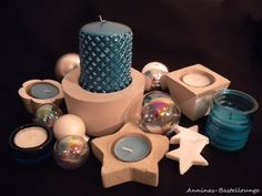 Weihnachtliche Beton Deko in türkis Facebook Sign Up, Candles, Etsy, Handmade, Christmas, Pillar Candles, Lights, Candle