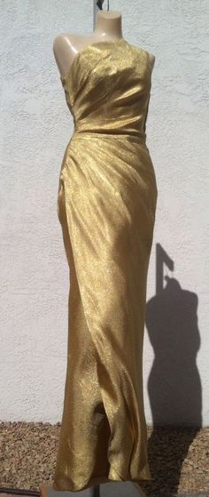 Vtg 50s Gold Lame Lurex Wiggle Cocktail Dress Gown Couture Fitted Burlesque