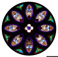 """""""Pretty Circular Panel"""" Religious Stained Glass Window"""