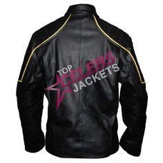 The amazing Batman costume-motorcycle yellow stripes black leather jacket | Top Celebs Jackets