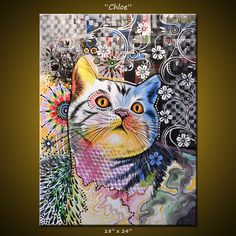 Original Abstract Painting Modern Animals Cats Cat art ...18 x 24 ... Olivia, by Amy Giacomelli. $575.00, via Etsy.