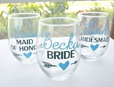 Personalized bridal party wine glasses - perfect for drinking mimosas during your wedding day morning!