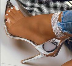 Stilettos, Stiletto Heels, Shoes Heels, Dress Shoes, Pumps, Silver High Heels, Silver Shoes, Wrap Heels, Ankle Strap Sandals