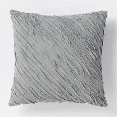 Diagonal Frayed Pillow - Slate | West Elm