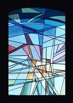 Vetrata artistica in vetro soffiato e colorescente legato in piombo cm.120 x 190  #Stained-glass