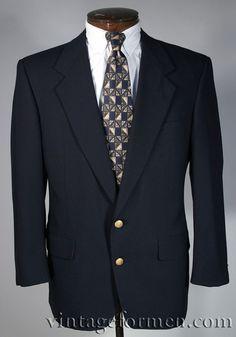 Vintage 80s Austin Reed Navy Blue Blazer Brass Crest Buttons Size 40 S