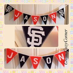 This baby nursery cotton fabric banner will last as long as his love for his SF Giants baseball team ❣⚾️❣