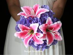 Stargazer Lily Wedding Flower Bouquet, blue instead of purple
