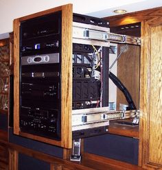 In-Wall Av Rack | Additionally, Crone installed a back brace with a cantilever mount ...