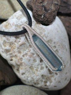 Aqua Aura Crystal Wire Wrap Pendant Oxidized Silver Wire Wrapped