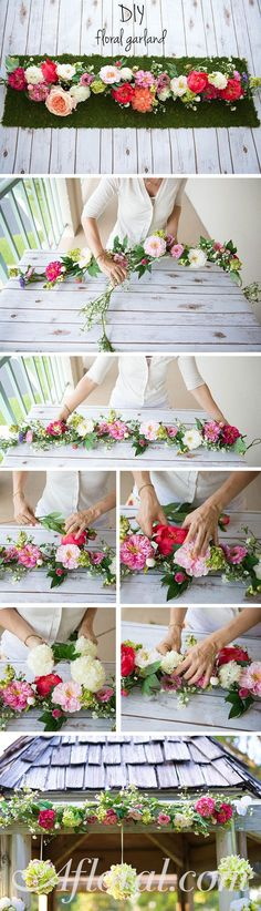 DIY Garland. If you use it on your table or hang it over the alter, this DIY garland is the perfect wedding decoration and is so simple to make! Start with a premade silk flower garaland and simple add your favorite flowers and greenery with floral tape to create a unique look that lasts. Make it months before your wedding and your floral table runner will look fresh at your wedding (and your 1st anniversary!) Find everything you need at http://Aflroal.com.