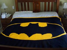 Maybe this could be your next crochet project - Crochet Batman Blanket