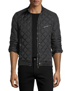 MONCLER Fred Quilted Nylon Cafe Racer Jacket, Black. #moncler #cloth #