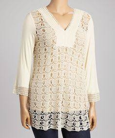 Loving this Natural Crochet V-Neck Top - Plus on #zulily! #zulilyfinds