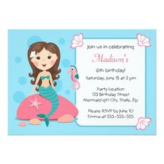 Mermaid Birthday Invitations Little mermaid girl cute girly birthday invitation