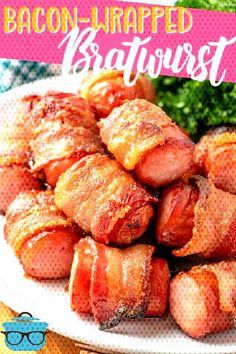 Bacon Wrapped Bratwurst Bites appetizers are fully cooked sausages wrapped in smoked bacon and swee Sausage Wrap, How To Cook Sausage, Smoked Bacon, Bratwurst, Bacon Wrapped, Sausages, Sweet Potato, Appetizers, Potatoes