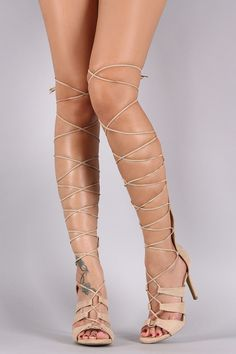 Wild Diva Lounge Suede Strappy Lace Up Gladiator Heel