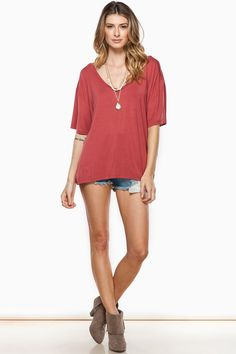 ShopSosie Style : Cozy Short Sleeve Double V Neck Tee in Marsala by Piko