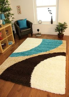 Helsinki 1960 Teal Blue, Brown & Cream Thick Pile Soft Next Style Shaggy Rugs - 5 Sizes by The Rug House, I found what I wanted! Teal Living Rooms, Living Room White, Rugs In Living Room, Living Room Decor, New Interior Design, Interior Design Living Room, Room Interior, Latch Hook Rugs, Patterned Carpet