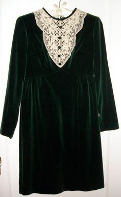Vintage 1960's Velvet Lace Button Dolly Babydoll Dress XS S 6 8 Alexa Chung   eBay