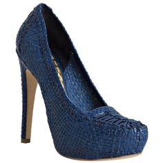 Prada Cobalt Woven Leather Platform Pumps (740 AUD) ❤ liked on Polyvore featuring shoes, pumps, heels, zapatos, blue, high heel platform pumps, multi color pumps, pointed toe high heel pumps, blue high heel pumps and metallic pumps