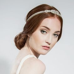 Teardrop Halo - Bridal Hair Accessories - Halos - Silver Seed Beading and Baguette Crystals