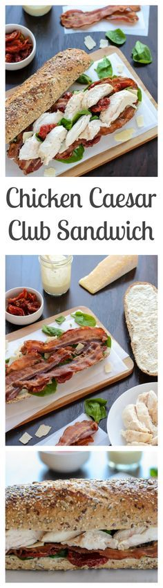 Chicken Caesar Club Sandwich with Bacon...Not a fan of crusty bread? ...Try using a Martin's Hoagie Roll instead!