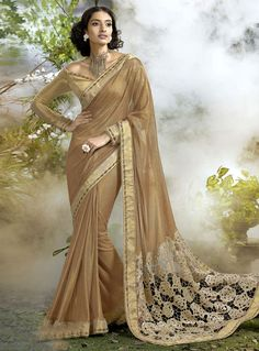 Beige Lycra Saree With Blouse 86285