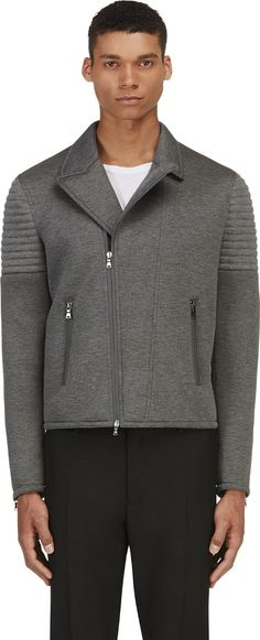 Neil Barrett - Grey Neoprene Biker Jacket