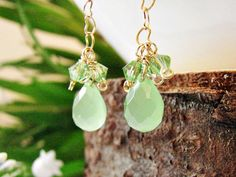♣ This Item is a wonderful piece of Dangle Earrings made of Light Green Jade Tear Drop, Swarovski Crystals and Heart Shape Chain Dangle & Drop Earrings. Made with Goldfield 14K This Piece is UNIQUE!! Handmade with love and passion for design!! It is ideal for casual and feminine outfits during