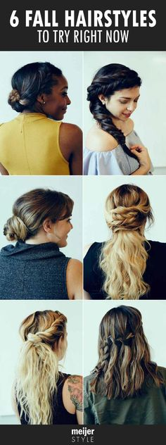 Six hair ideas to try! It's the best hairstyles for fall including braids, fishtails and classic low buns. Plus easy step-by-step hair tutorials for each look. #MeijerStyle