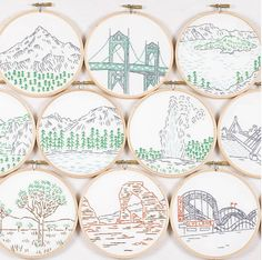 Embroidery : Landscapes and landmarks. Nice idea - maybe embroider scenes from places visited or those holding special memories