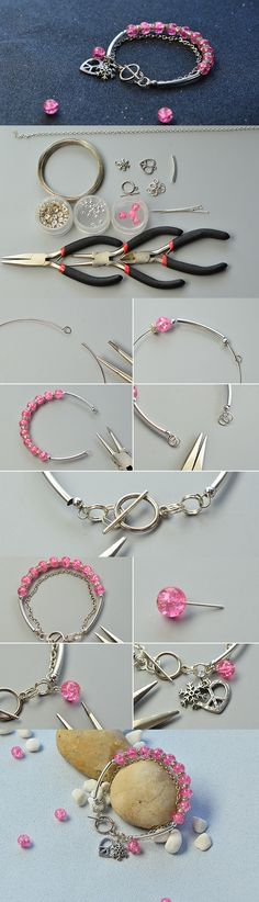 DIY Crackle Glass Beads Charm Bracelet in Two Steps