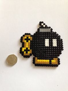 mario bomb perler bead pattern used with fuse beads, hama beads and perler beads Hama Beads Mario, Perler Bead Mario, Diy Perler Beads, Pearler Beads, Fuse Beads, Pixel Art, Pearler Bead Patterns, Perler Patterns, Pixel Beads
