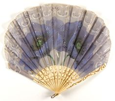 Philadelphia Museum of Art - Collections Object : Fan c. 1920, France - painted silk gauze with sequins - gold inlay ivory sticks