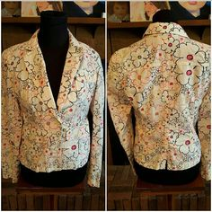 Adorable Ann Taylor loft flower blazer Color is white with pink and black flower pattern,  one button closure , front pockets that button closed. Very cute Ann Taylor Jackets & Coats Blazers