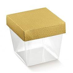 Schachtel durchsichtig mit gold. Deckel 0,68 €