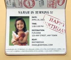 Safari Passport Party Invitations Set of 12. $39.00, via Etsy.