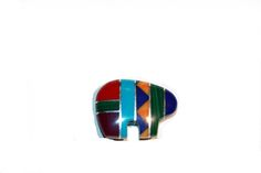Zuni Bear Bead Zuni Fetish Bead Multi Color Inlay by CatsEyeBeads