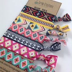 Aztec Hair Ties FOE Boho Indian Hair Ties Pattern Print Hair Tie Pony Tail Holder Elastic