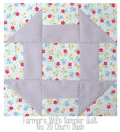 Farmers Wife No 20 Churn Dash: great fabric combination, I like the idea of using a floral print for the background