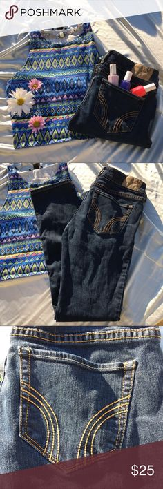 🌸Must-Have Hollister Dark Wash Skinnies🌸 These super cute skinny jeans are a must-have in any closet! They go great with a tank and sandals, for an easy spring look. No damages, and no fading. I offer 20% off bundles of 2+ items. Please leave any questions below! -Maria 🌸 Hollister Jeans Skinny
