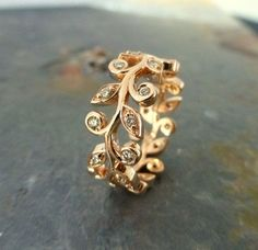 Leaf and diamond engagement ring.  Wedding band with leaves.  14k gold and diamonds. on Etsy $1900.00