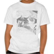Sleeping Kittens Grey Tshirt #Kids #Child #Cat #Kitten #Shirt #Tee #Cute #Meow #DWW25921 #Customize #Ecommerce #Smallbiz #Style #Shopping #Gift